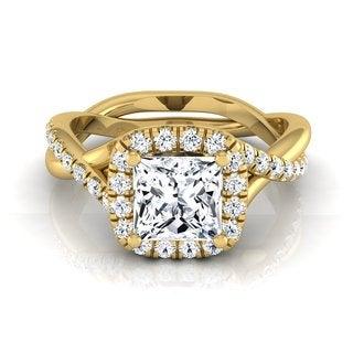 14k Yellow Gold 1 3/8ct TDW Princess Diamond Halo Engagement Ring
