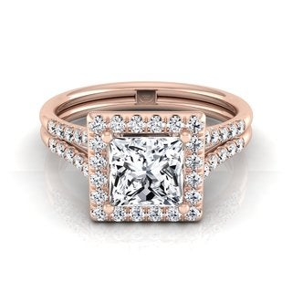14k Rose Gold 1 3/8ct TDW Princess Diamond Halo Engagement Ring (H-I, VS)