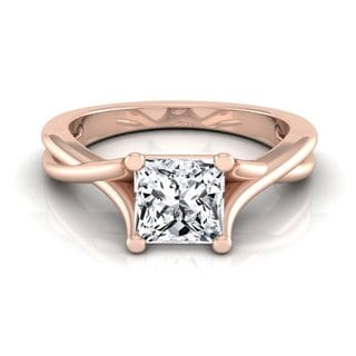 14k Rose Gold IGI-certified 1ct TDW Princess-cut Diamond Solitaire Trellis Basket Engagement Ring