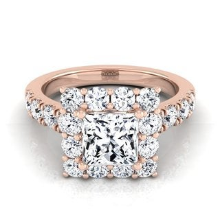 14k Rose Gold IGI-Certified 2 1/16ct TDW Princess Cut Diamond Halo Engagement Ring With Pave Shank (H-I,VS1-VS2)