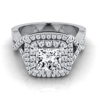 14k White Gold IGI-certified 1 5/8ct TDW Princess-cut Double Square Halo Infinity Shank Ring