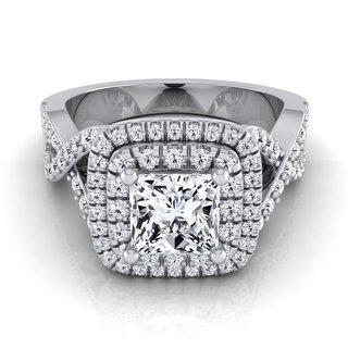 14k White Gold IGI-certified 1 5/8ct TDW Princess-cut Double Square Halo Infinity Shank Ring