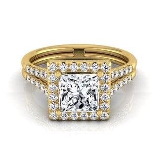 14k Yellow Gold IGI-certified 1 2/5ct TDW Princess-cut Diamond Halo Split Shank Engagement Ring