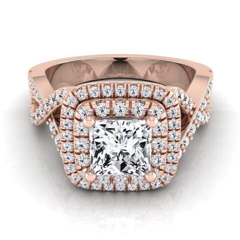 14k Rose Gold IGI-certified 1 5/8ct TDW Princess-cut Double Square Halo Infinity Shank Ring