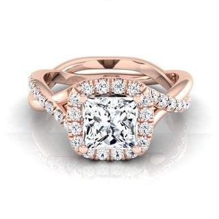 14k Rose Gold IGI-certified 1 2/5ct TDW Princess-cut Diamond Halo Engagement Ring