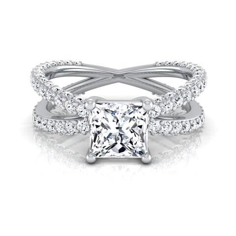 14k White Gold IGI-certified 2 1/4ct TDW Princess-cut Diamond Engagement Ring