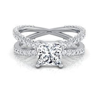 14k White Gold IGI-certified 2 1/4ct TDW Princess-cut Diamond Engagement Ring