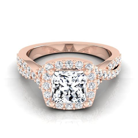 14k Rose Gold IGI-certified 1 2/5ct TDW Princess-cut Diamond Square Halo Twisted Engagement Ring