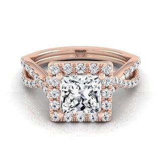 14k Rose Gold IGI-certified 1 1/2ct TDW Princess-cut Diamond Halo Engagement Ring (H-I, VS1-VS2)