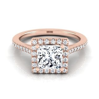 14k Rose Gold IGI-certified 1 1/4ct TDW Princess-cut Diamond Halo Engagement Ring (H-I, VS1-VS2)