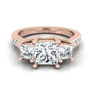 14k Rose Gold IGI-certified 1 3/4ct TDW Princess-cut 3-stone Engagement Ring (H-I, VS1-VS2)