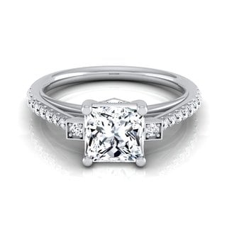 14k White Gold IGI-certified 1 1/3ct TDW Princess-cut Diamond Illusion Engagement Ring (H-I, VS1-VS2)