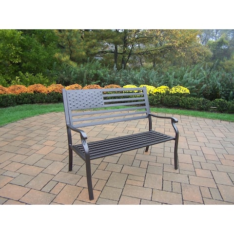 American Pride Wood and Metal Bench