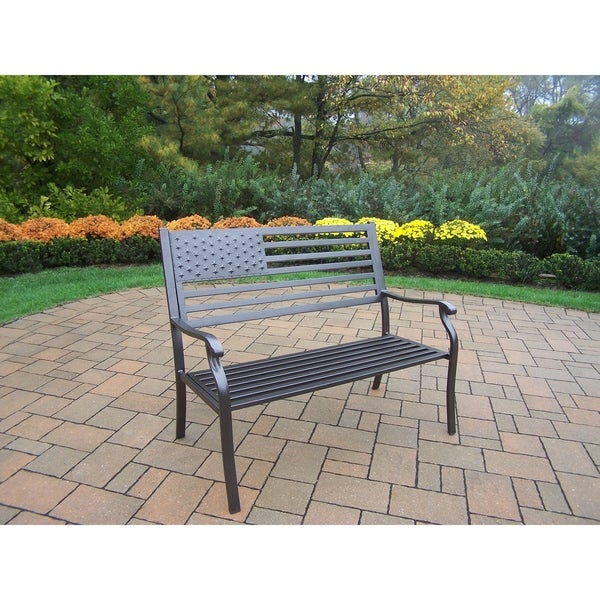 American Pride Wood and Metal Bench. Opens flyout.