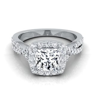 14k White Gold 1 3/8ct TDW Princess Diamond Square Halo Engagement Ring (H-I, VS)
