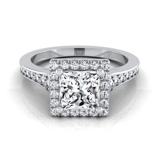 14k White Gold 1 1/3ct TDW Princess Cut Diamond with Octagon Halo and Pave Shank Engagement Ring (H-I, VS1-VS2)