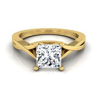 14k Yellow Gold IGI-certified 1ct TDW Princess-cut Diamond Solitaire Cathedral Setting Engagement Ring (H-I, VS1-VS2)