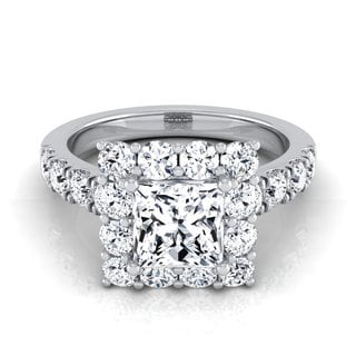 14k White Gold IGI-certified 2 1/10ct TDW Princess-cut Diamond Halo Engagement Ring (H-I, VS1-VS2)
