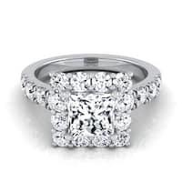 14k White Gold IGI-certified 2 1/10ct TDW Princess-cut Diamond Halo Engagement Ring