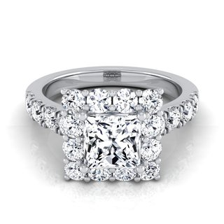 14k White Gold IGI-certified 2 1/10ct TDW Princess-cut Diamond Halo Engagement Ring