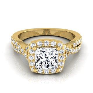14k Yellow Gold IGI-certified 1 2/5ct TDW Princess-cut Diamond Square Halo Engagement Ring