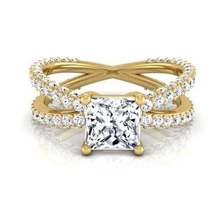 14k Yellow Gold IGI-certified 2 1/4ct TDW Princess-cut Diamond Engagement Ring (H-I, VS1-VS2)