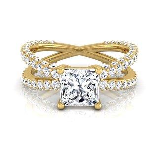 14k Yellow Gold IGI-certified 2 1/4ct TDW Princess-cut Diamond Engagement Ring