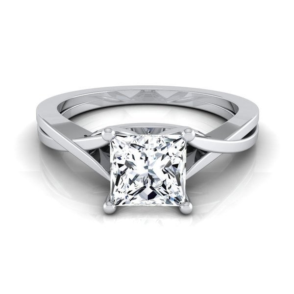 14k White Gold IGI-certified 1ct TDW Princess-cut Diamond Solitaire Engagement Ring