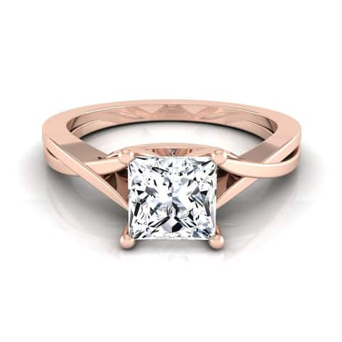 14k Rose Gold IGI-certified 1ct TDW Princess-cut Diamond Solitaire Cathedral Engagement Ring