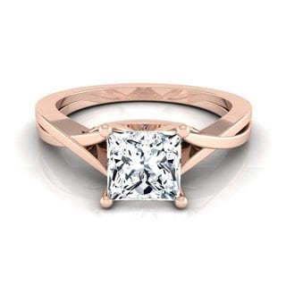 14k Rose Gold IGI-certified 1ct TDW Princess-cut Diamond Solitaire Cathedral Engagement Ring (H-I, VS1-VS2)