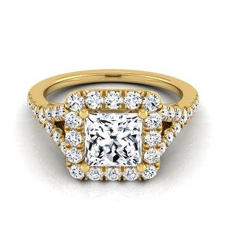 14k Yellow Gold IGI-certified 1 1/2ct TDW Princess-cut Diamond Square Pave Halo Engagement Ring (H-I, VS1-VS2)