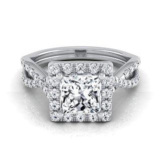 14k White Gold IGI-certified 1 1/2ct TDW Princess-cut Diamond Halo Engagement Ring (H-I, VS1-VS2)