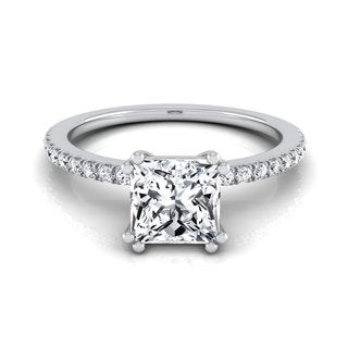 14k White Gold IGI-certified 1 1/6ct TDW Princess-cut Diamond Classic Petite Split Prong Engagement Ring (H-I, VS1-VS2)