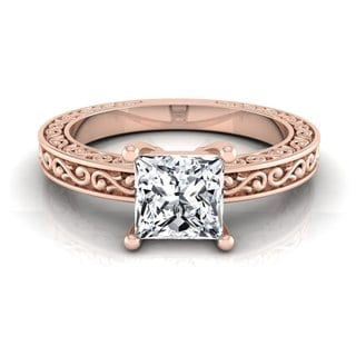 14k Rose Gold IGI-certified 1ct TDW Princess-cut Diamond Solitaire Engagement Ring