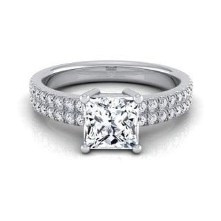 14k White Gold IGI-certified 1 1/4ct TDW Princess-cut Diamond Double Row Engagement Ring (H-I, VS1-VS2)