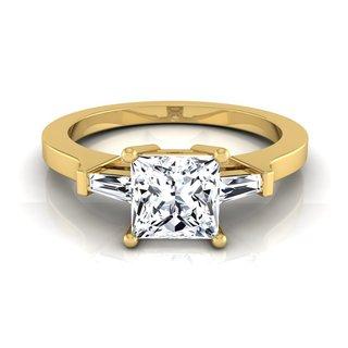 14k Yellow Gold IGI-certified 1 1/4ct TDW Princess-cut Diamond Tapered Engagement Ring (H-I, VS1-VS2)