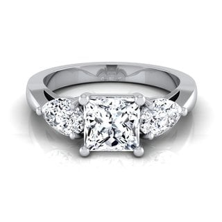 14k White Gold IGI-certified 2ct TDW Princess-cut 3-stone Engagement Ring (H-I, VS1-VS2)