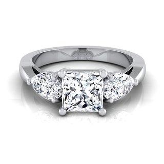 14k White Gold IGI-certified 2ct TDW Princess-cut 3-stone Engagement Ring