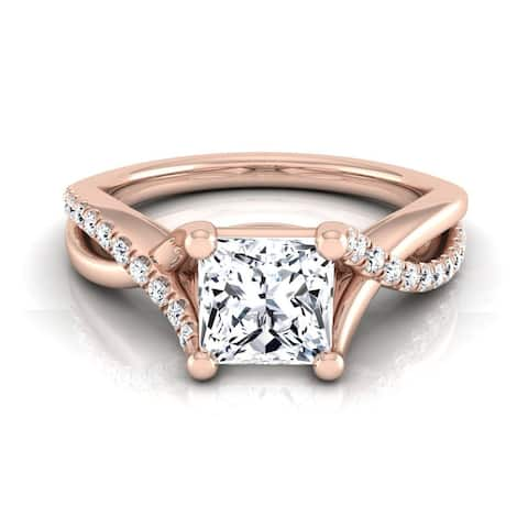 14k Rose Gold IGI-certified 1 1/6ct TDW Princess-cut Diamond Infinity Engagement Ring
