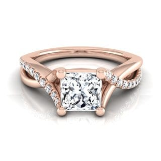 14k Rose Gold IGI-certified 1 1/6ct TDW Princess-cut Diamond Infinity Engagement Ring (H-I, VS1-VS2)