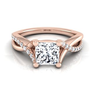 14k Rose Gold IGI-certified 1 1/6ct TDW Princess-cut Diamond Infinity Engagement Ring