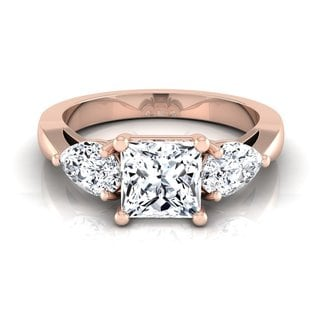 14k Rose Gold IGI-certified 2ct TDW Princess-cut Center Pear 3-stone Engagement Ring (H-I, VS1-VS2)