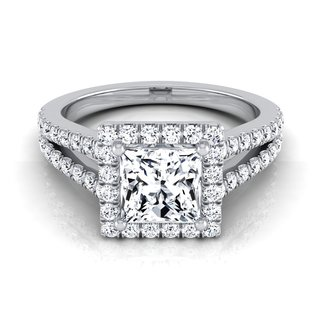 14k White Gold IGI-certified 1 1/2ct TDW Princess-cut Diamond Split Engagement Ring (H-I, VS1-VS2)