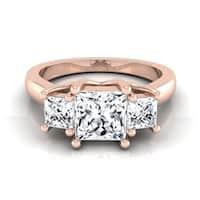 14k Rose Gold IGI-certified 1 1/2ct TDW Princess-cut 3-stone Engagement Ring