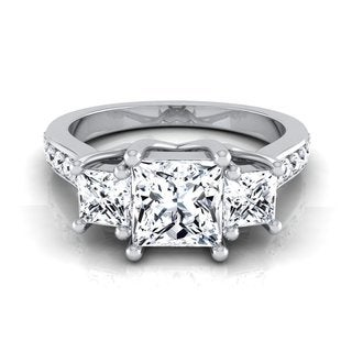 14k White Gold IGI-certified 1 3/4ct TDW Princess-cut 3-stone Engagement Ring (H-I, VS1-VS2)