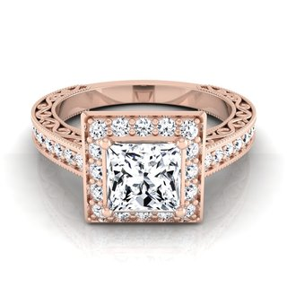 14k Rose Gold IGI-certified 1 1/2ct TDW Princess-cut Diamond Halo Engagement Ring (H-I, VS1-VS2)