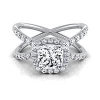 14k White Gold IGI-certified 1 1/2ct TDW Princess-cut Diamond Halo Engagement Ring