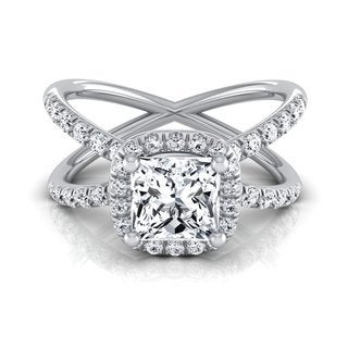 14k White Gold IGI-certified 1 1/2ct TDW Princess-cut Diamond Halo Engagement Ring