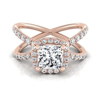 14k Rose Gold IGI-certified 1 1/2ct TDW Princess-cut Diamond Crossover Halo Engagement Ring (H-I, VS1-VS2)