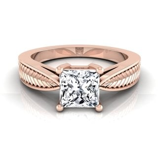 14k Rose Gold IGI-certified 1ct TDW Princess-cut Diamond 4-prong Leaf Engagement Ring